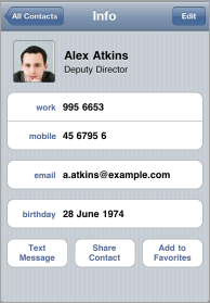 Intranet Contact on Mobile
