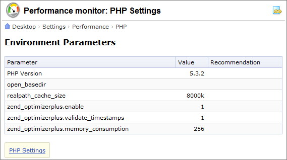 Performance monitor: PHP Settings